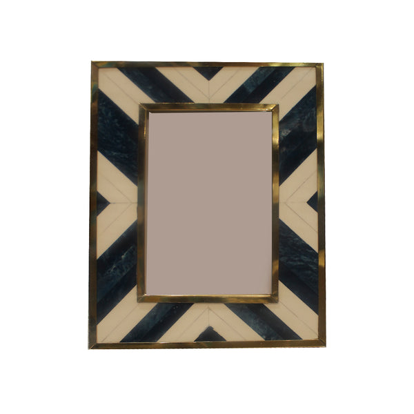 FRAME IN BLUE & WHITE DIA. TILES WITH METAL BORDER