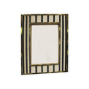 FRAME IN BLACK & WHITE STRIPES WITH METAL BORDER