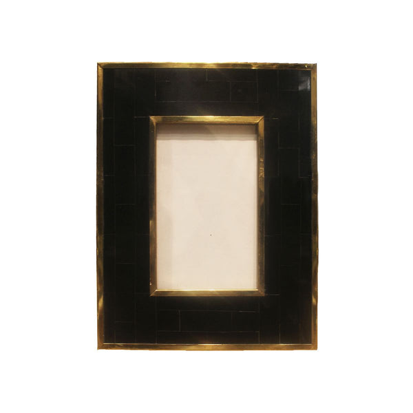 FRAME IN BLACK WITH BRASS BORDER