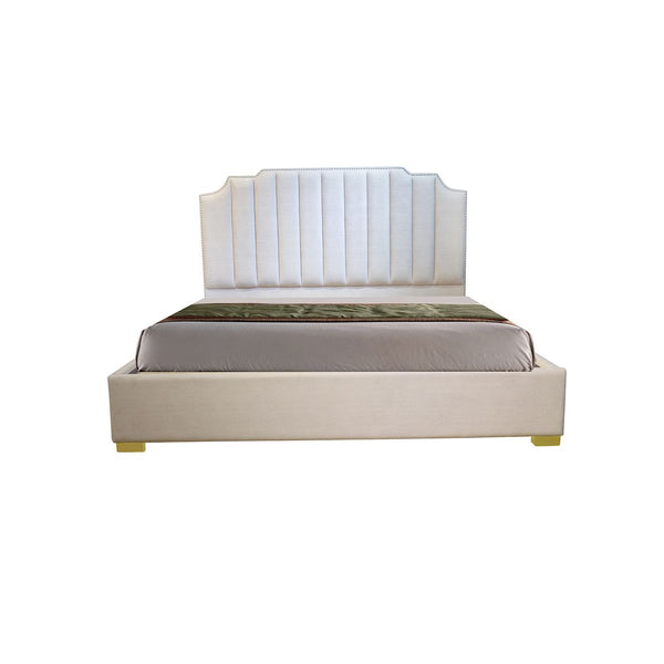 CAMA KING LIGHT SNOW TAPIZADA EN TELA BEIGE