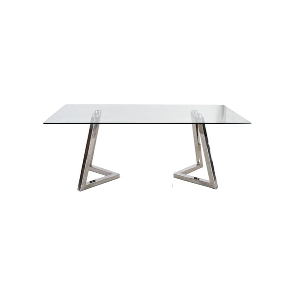 RECT DINING TABLE, CLEAR GLASS TOP, STAINLESS STEEL WITH SHINY FINISHED