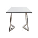 SIDE TABLE, CLEAR GLASS, STAINLESS STEEL WITH SHINY FINISHED