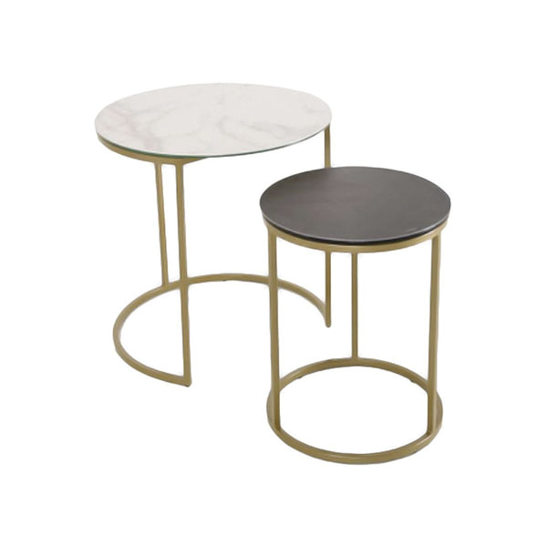 SET/2 END TABLE ITALY REAL CERAMIC TOP: KL 54, STEEL: GOLD COLOR