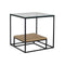 FORLI 02 SIDE TABLE GLASS TOP JORD+BLACK METAL