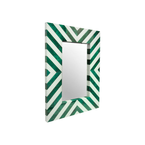 *****WALL MIRROR CLEAR MIRROR WHITE AND GREEN MARBLE GLASS