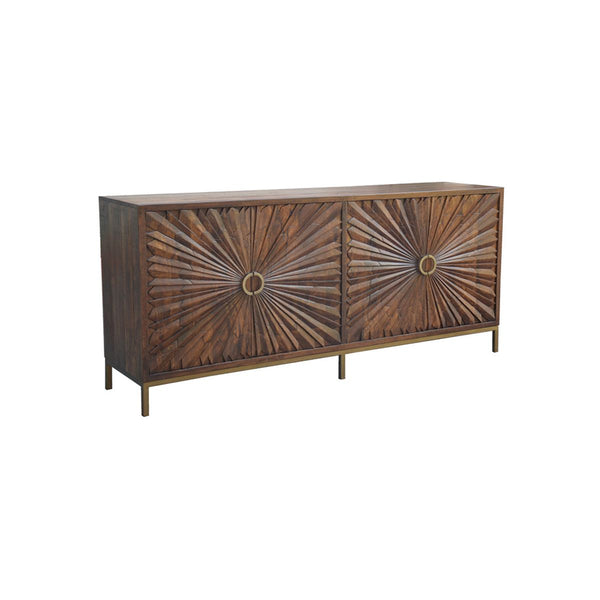 WD. 4 CARVED DOOR SIDEBOARD W/ IRON BASE