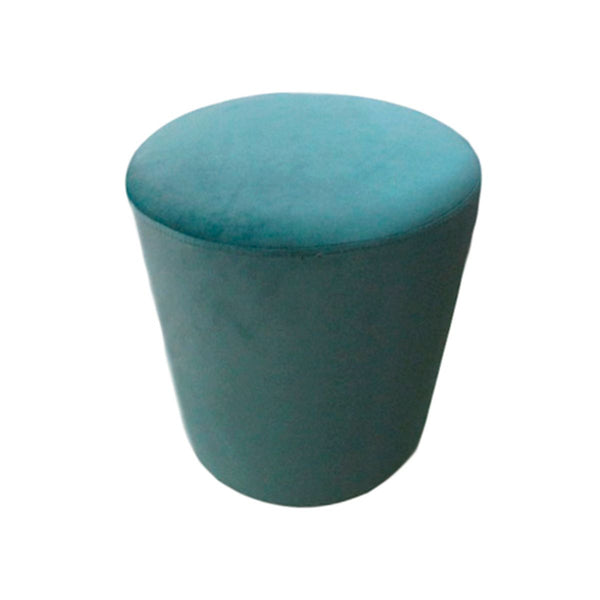ROUND STOOL COLOR LM073-75 BLUE GREEN VELVET FABRIC