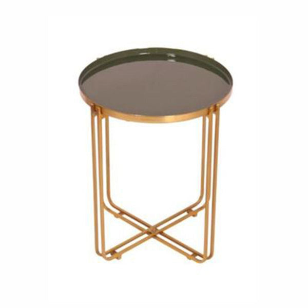 TABLE GOLD WITH ENEMAL TOP AND ROSE GOLD GLASS