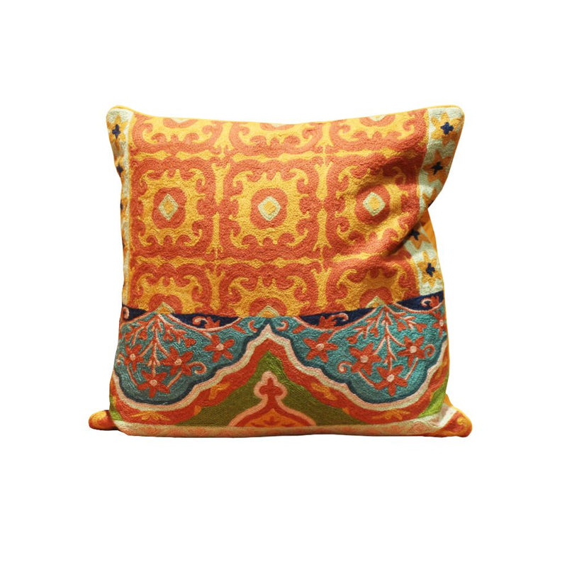 HAND EMBROIDERED WOOLEN CUSHION MULTI  20X20