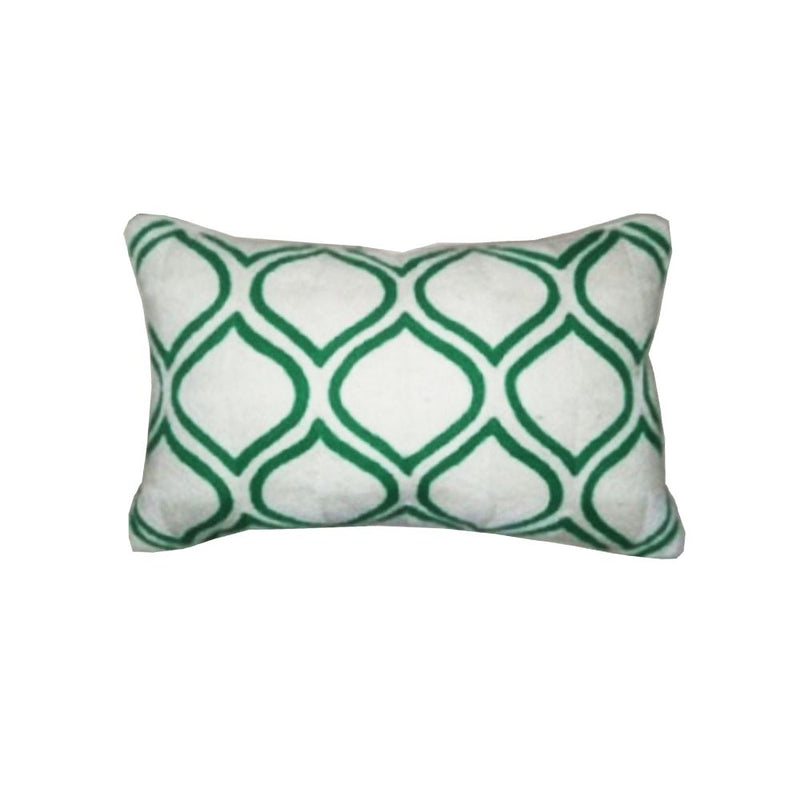 CHAINSTITCH EMBROIDERED CUSHION WITH FILLER  14X20