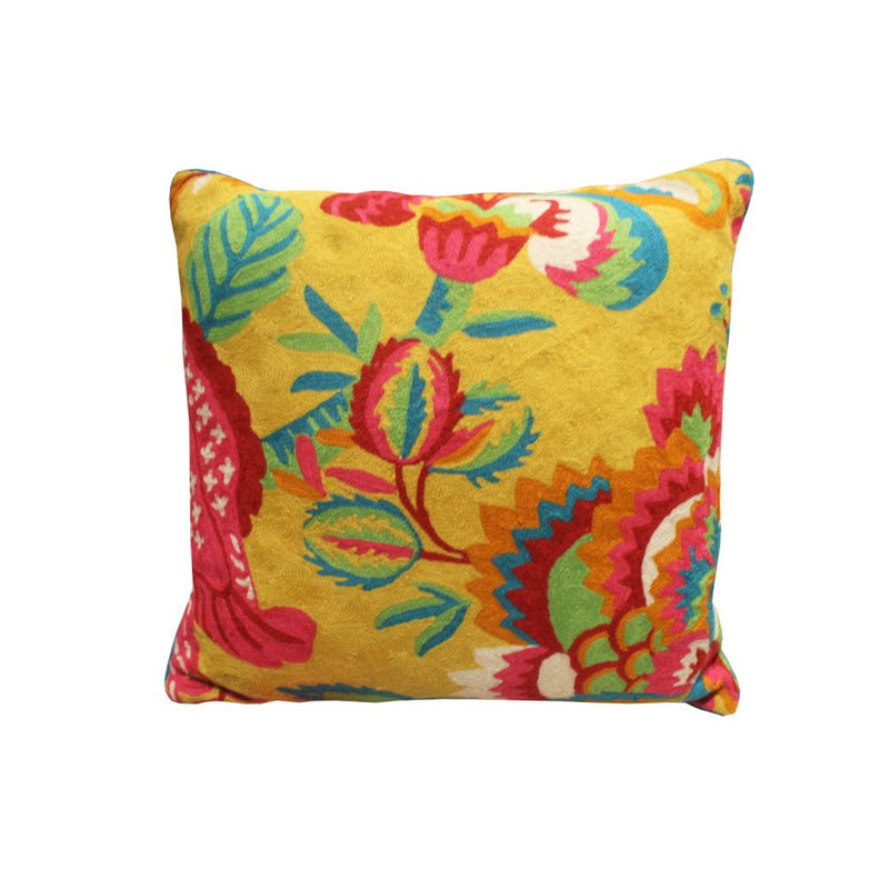 *****HAND EMBROIDERED WOOLEN  CUSHION MULTI 20X20