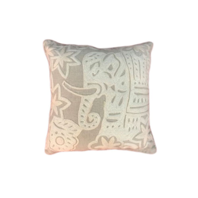 CREWEL EMBROIDERED CUSHION COVER WITH FILLER