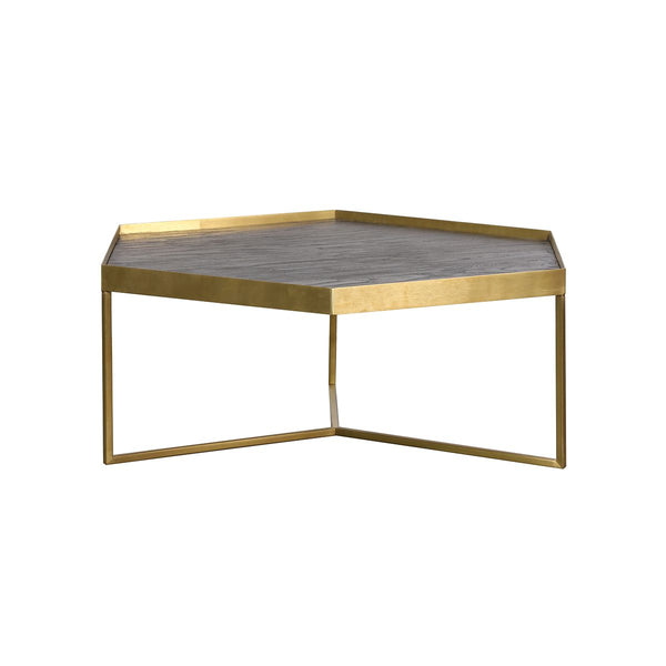 COFFEE TABLE  DARK BRUSHED +GOLD COPPER