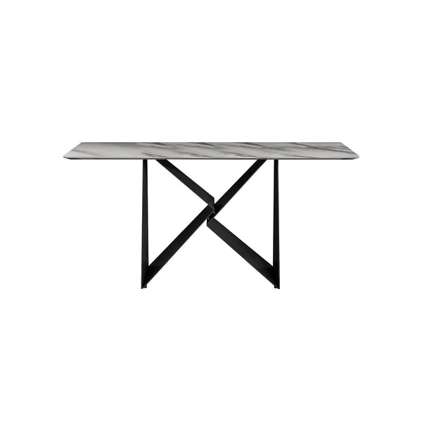 CONSOLE TABLE MARBLE TOP MATT COLOR, METAL LEGS IN BLACK