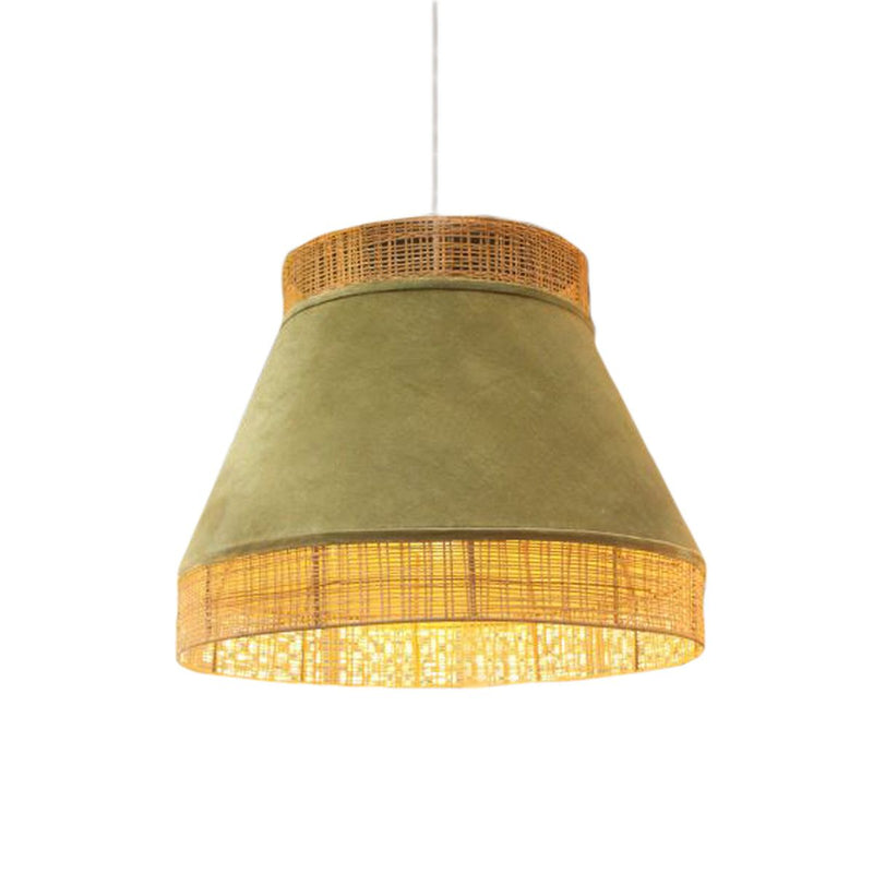 HANGING LAMP NATURAL CANE17 GREEN VELVET