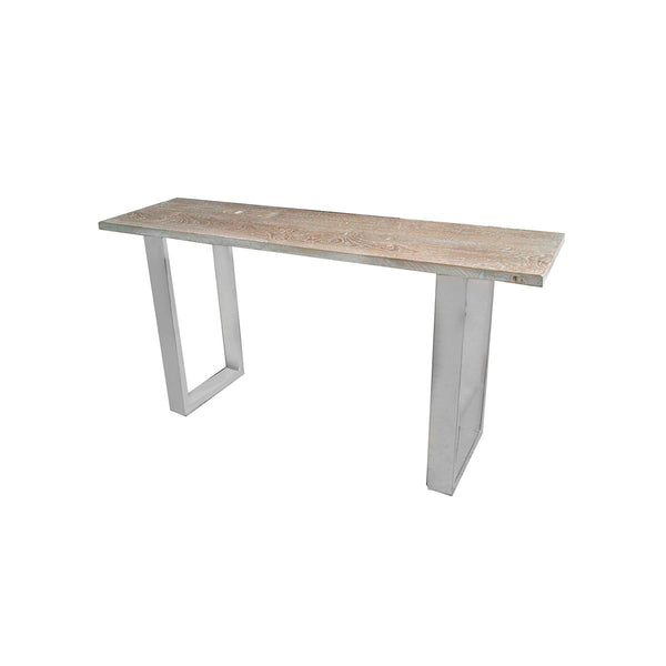 CONSOLE TABLE STAINLESS STEEL BASE  SANDED WHITE WASH 160X45X80