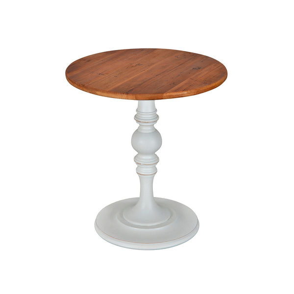 ROUND TABLE OLD WOOD TOP & WHITE DISTRESSED BASE