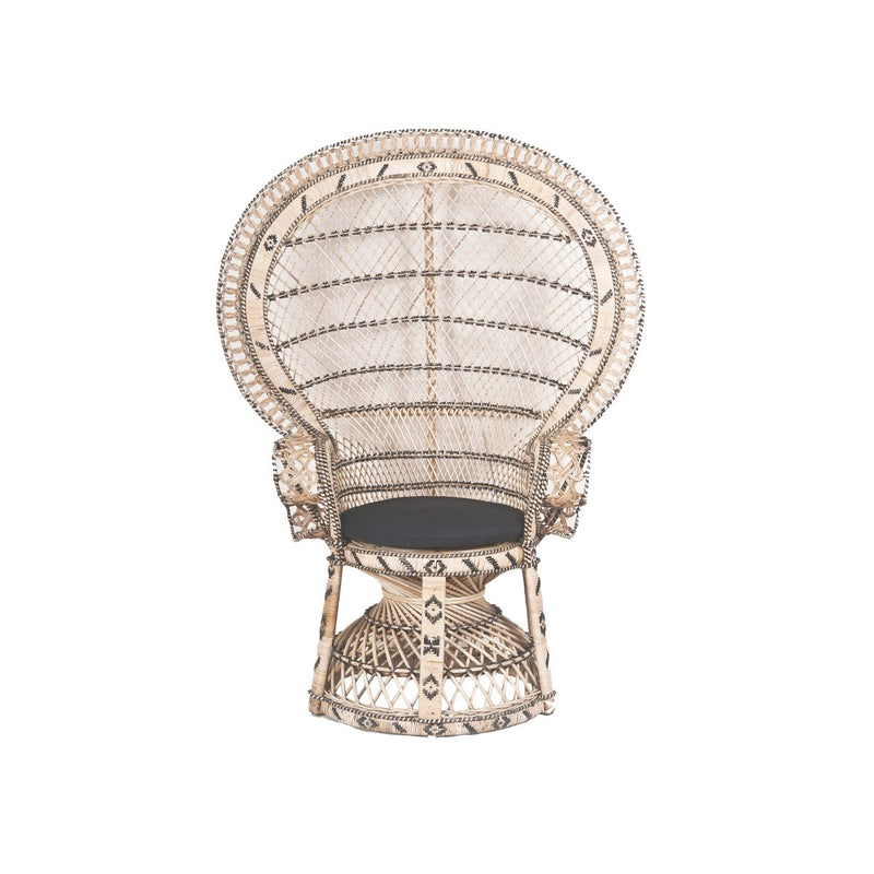 RETRO PEACOK  CHAIR NATURAL BLACK & RATTAN W/ BLACK