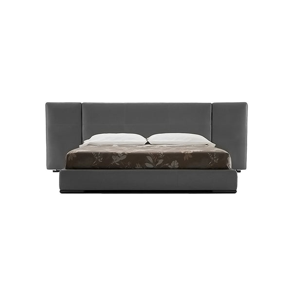 CAMA KING EN TELA GRIS CON PANEL