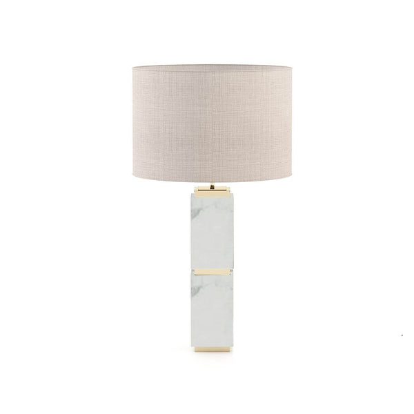 WHITE MARBLE TABLE LAMP AND METAL