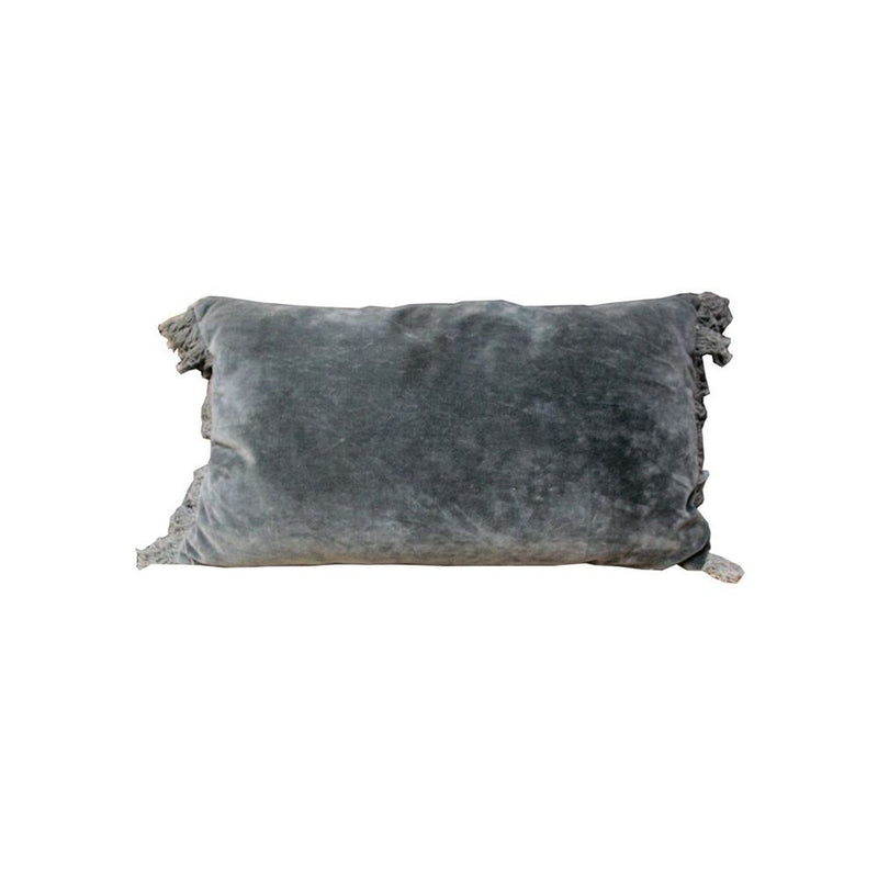 VELVET CUSHION WITH COTTON FRINGES