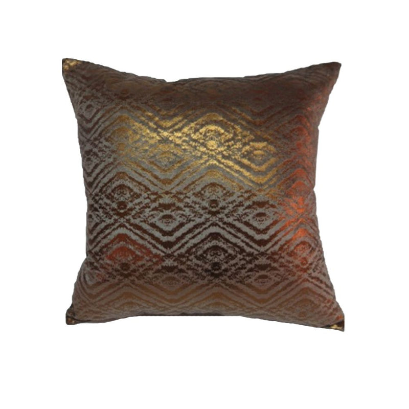 VISCOSE VELVET FOIL PRINT PILLOW 45X45 POTATO BROWN/ COPPER