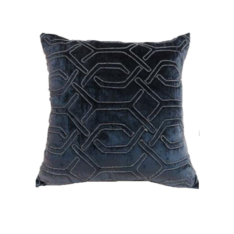 VISCOSE VELVET COUCHING EMBROIDERY WORK PILLOW 45X45 MIDNIGHT BLUE/ ANTIQUE