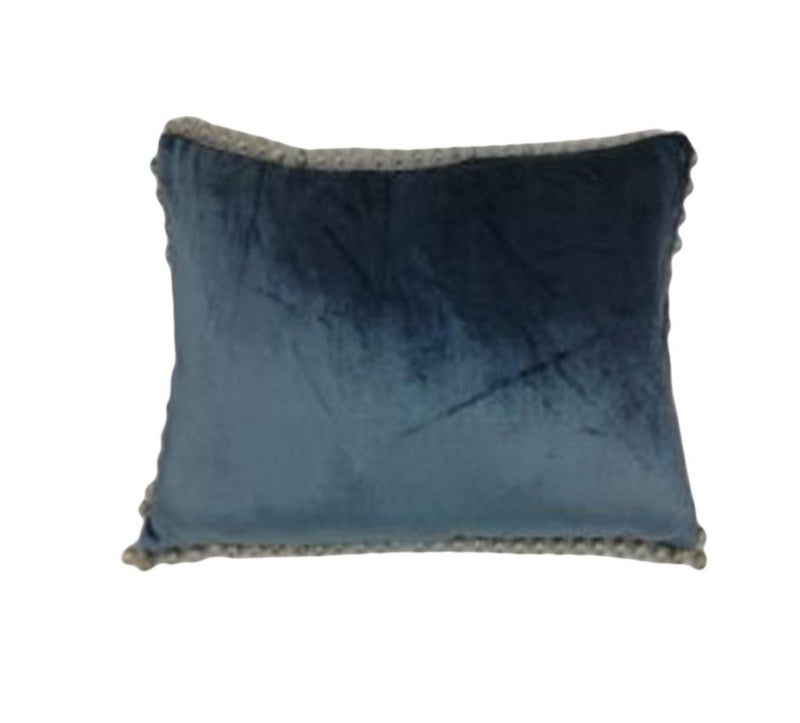 VISCOSE VELVET POM-POM BORDER CUSHION
