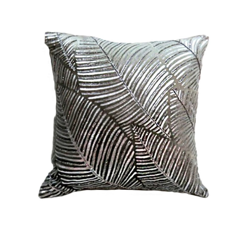 VISCOSE VELVET METALLIC FOIL PRINTED CUSHION WITH BEAD WORK 50X50