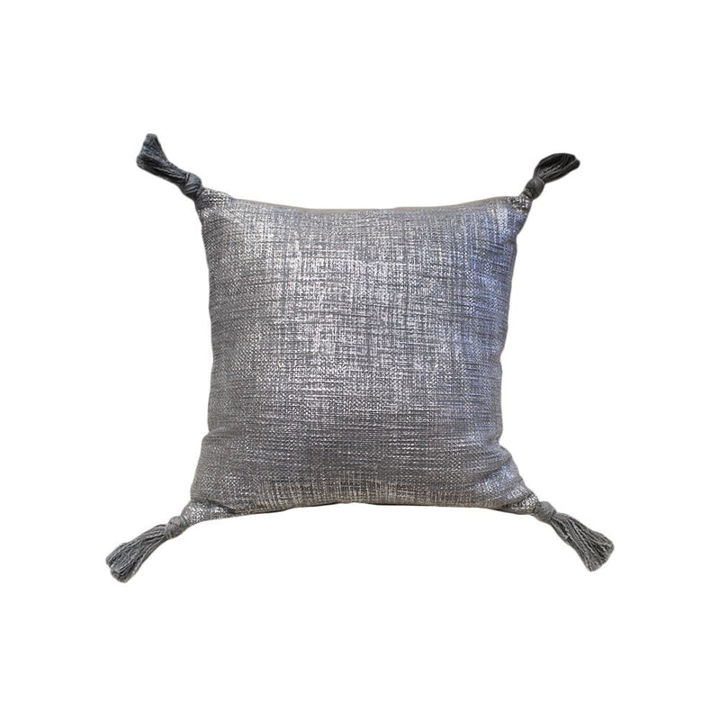 COTTON SLUB WOVEN METALLIC FOIL PRINTED CUSHION WITH TASSELS ON ALL FOUR ENDS 50X50