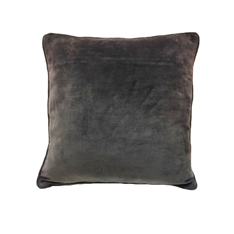 COTTON VELVET PIPING PILLOW 45X45 GREY