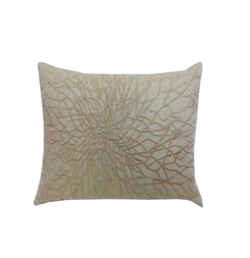 LINEN-METALLIC FIBRE BLEND WITH METALLIC EMBROIDERED CUSHION