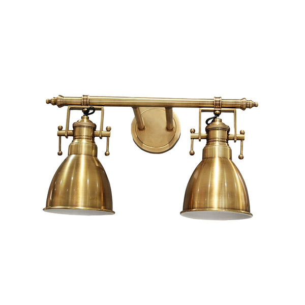 WALL LAMP DUAL SHADE ADJUSTABLE ANTIQUE BRASS