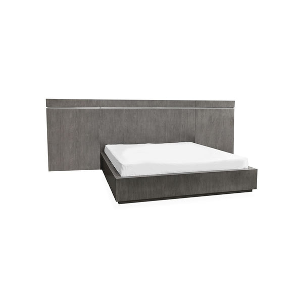 *****PANEL QUEEN BED  GREY OAK