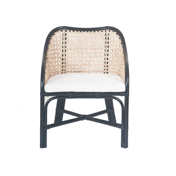 WINSTON CHAIR NATURAL & BLACK RATTAN W/CANVAS
