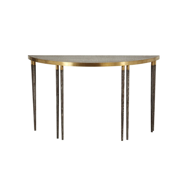 *****SEMI ROUND TABLE LIGHT FUME CHAMPAGNE  BRUSHED STEEL