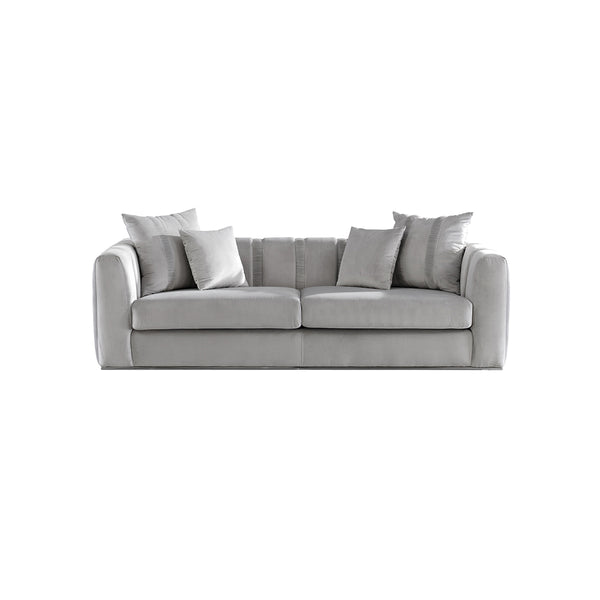 SOFA DE TRES ASIENTOS EN TELA COLOR GRIS