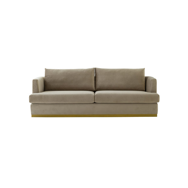 SOFA ESTACIONARIO DE TRES ASIENTOS EN TELA COLOR BEIGE