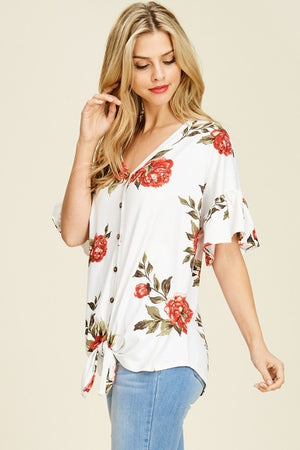 Ruffle Sleeve Floral Tie-Front Top