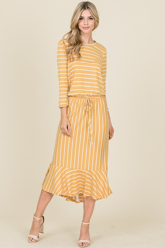 3/4 Sleeve Striped Midi Dress