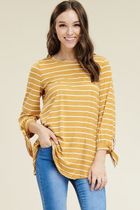 Ribbon Sleeve Striped Top