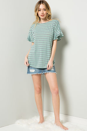 Double-Ruffle Striped Top