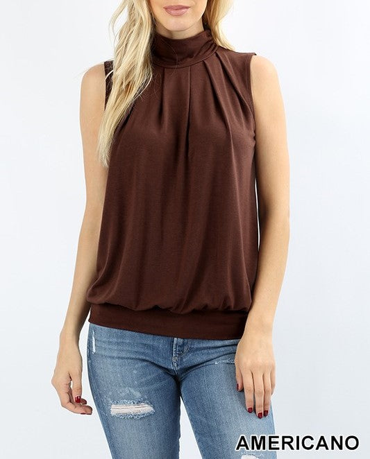 High-Neck Pleated Top