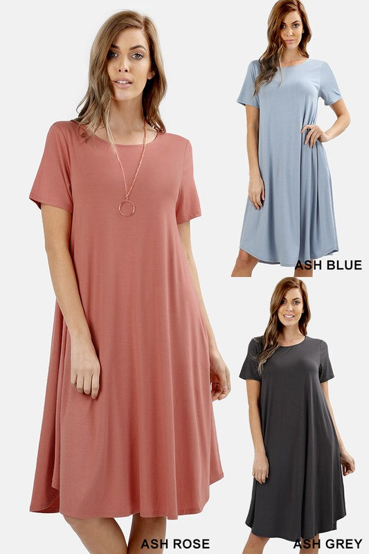 Casual Short-Sleeve Dress with Pockets