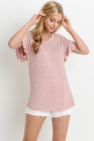 Flutter Sleeve Sweetheart Top