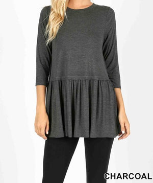 3/4 Sleeve Peplum Top