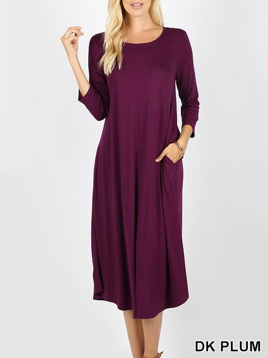 3/4 Sleeve Midi Dress with Pockets