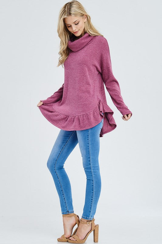 Ruffle Hem Turtle Neck Sweater