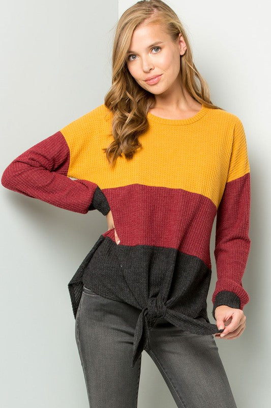 Color Block Tie-Front Top