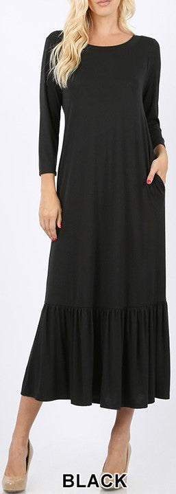 Ruffle Hem Long Dress
